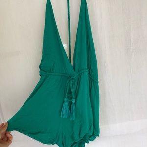 Green Gypsy By The Sea Open Back Romper